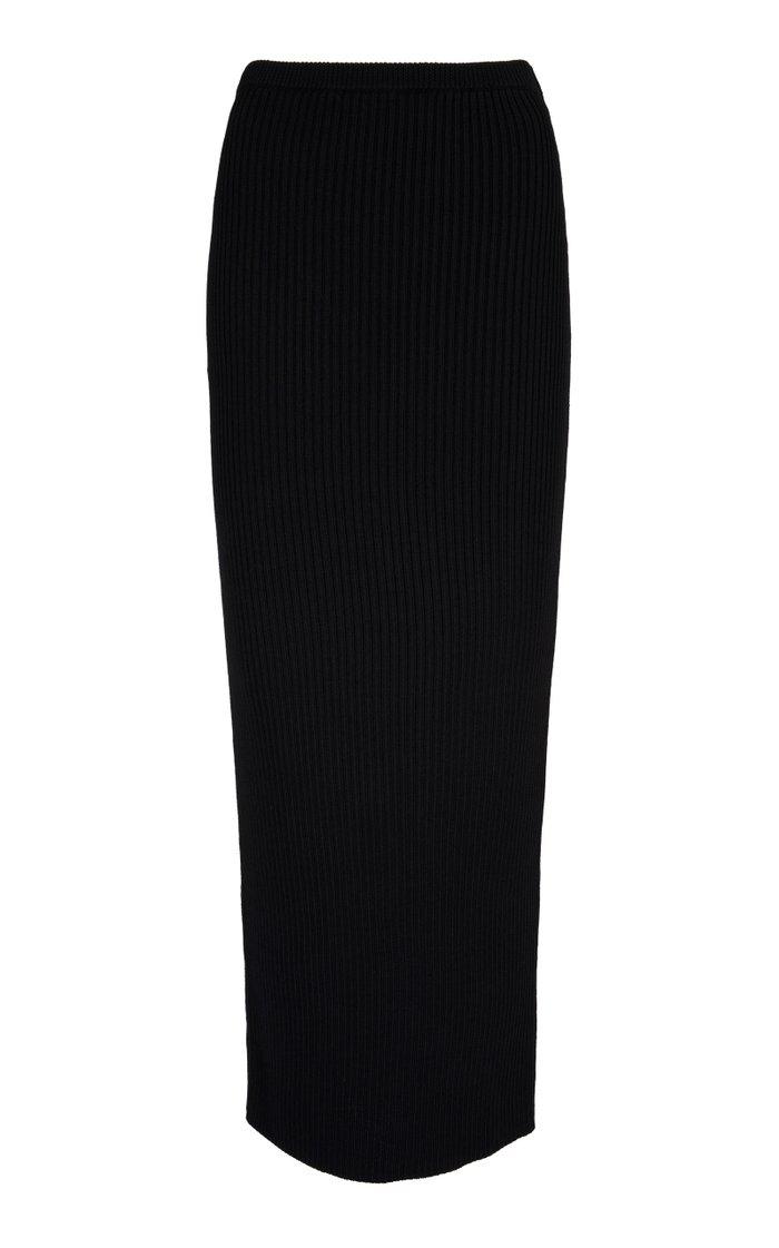 Zircon Ribbed-Knit Maxi Skirt