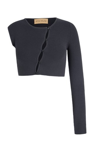 Maggie Asymmetric Knit Cropped Cardigan