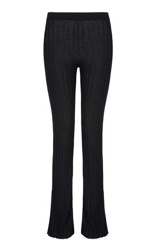 Sapphire Ribbed Straight-Leg Pants