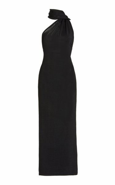 Electra Open-Back Jersey Tie-Neck Maxi Dress