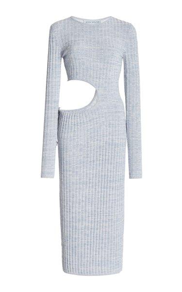 Shale Cutout Ribbed-Knit Midi Dress