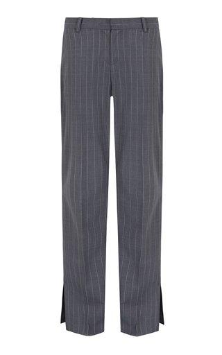Emeraude Pinstriped Crepe Straight-Leg Pant