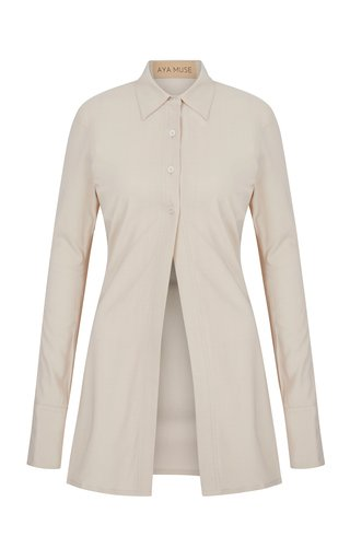 Larimar Jersey Button-Down Shirt
