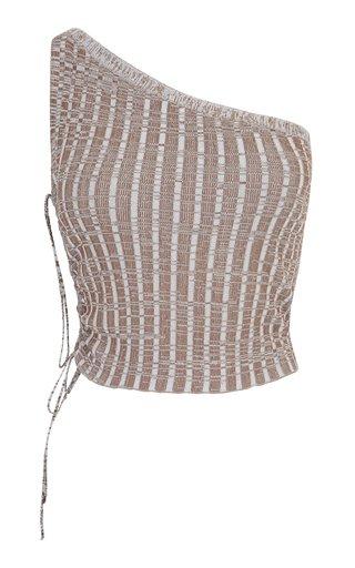 Emzar Asymmetric Knit Cropped Top