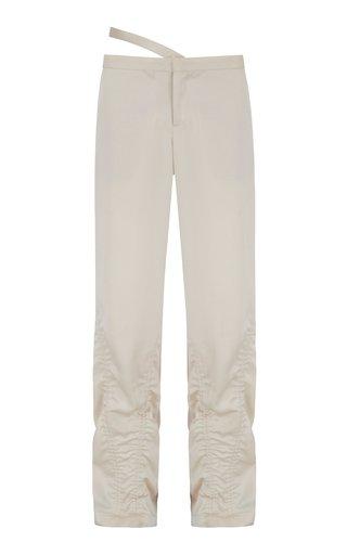 Esmeralda Ruched Gabardine Wide-Leg Pants