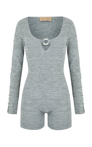 Agate Button-Detailed Ribbed-Knit Romper