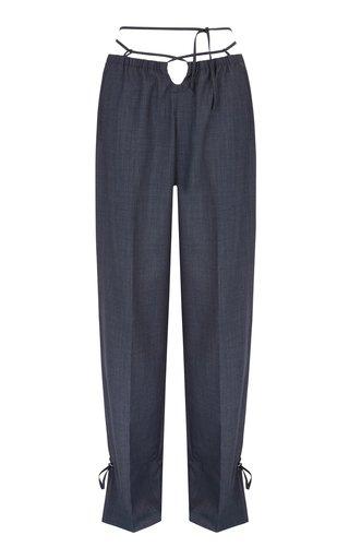 Baojin Tie-Accented Woven Straight-Leg Pants