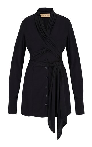 Obsidian Tie-Accented Jersey Shirt Dress
