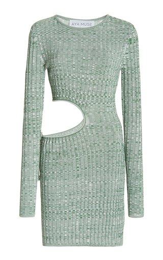 Turquoise Cutout Ribbed-Knit Mini Dress