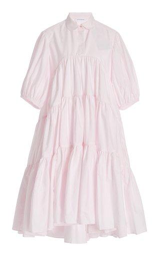 Jade Tiered Cotton Midi Shirt Dress