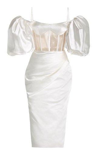 Draped Off-The-Shoulder Satin Midi Dress