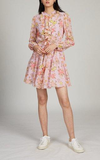 Tilly Ruffle-C Floral-Print Silk Dress