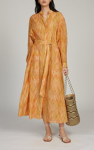 Inez Belted Cotton-Silk Dress