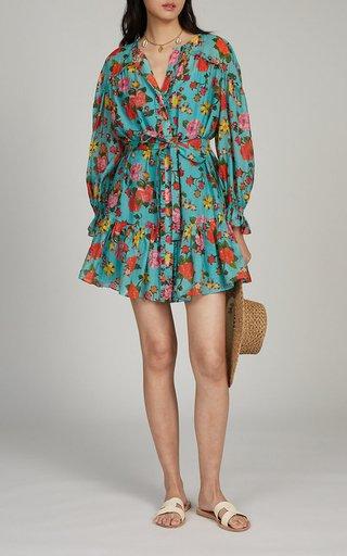 Pixie Floral-Print Cotton-Silk Dress