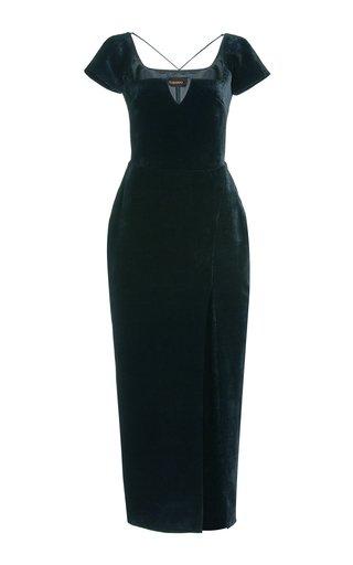 Strap-Detailed Velvet Maxi Dress
