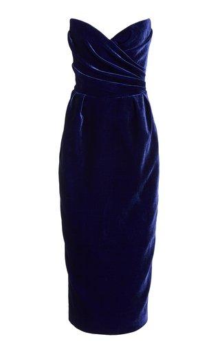 Draped Velvet Corseted Midi Dress