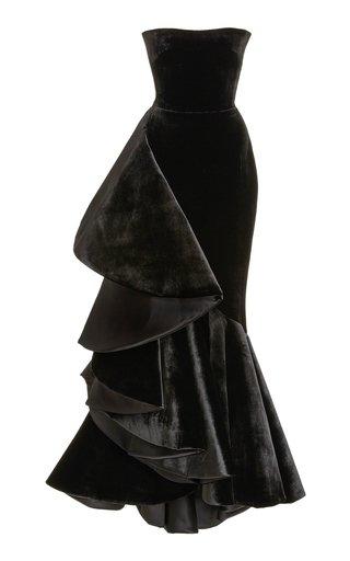Ruffled Velvet Strapless Gown