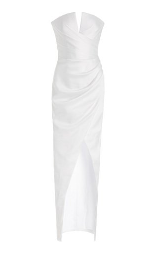 Exclusive Draped Satin Strapless Gown