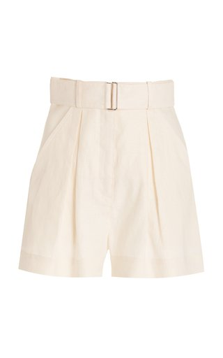 Exclusive Pleated Linen Shorts