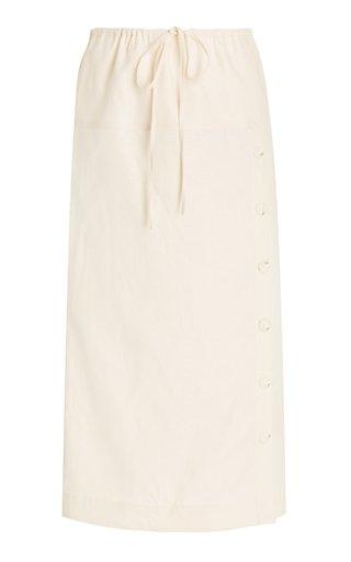 Drawstring Linen Midi Skirt