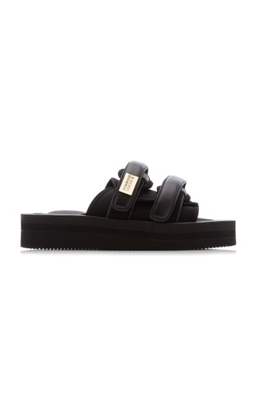 Moto Leather-Trimmed Nylon Sandals