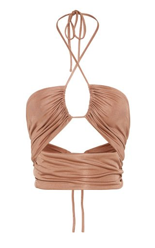 Lead On  Cropped Jersey Halter Top