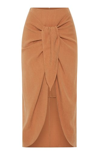 Take Me Away Tie-Detail Crepe Midi Skirt