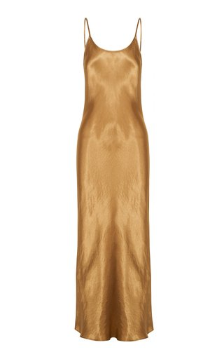 Running Water Bias-Cut Satin Slip Dress