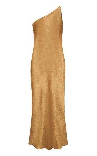Running Water Bias-Cut One-Shoulder Satin Slip Dress