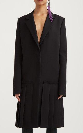 Plissé-Overlayed Knit Car Coat