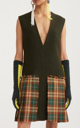 Check-Detail Wool-Blend Mini Dress