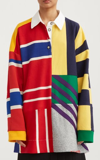 Patchwork Knit Rugby Sweater