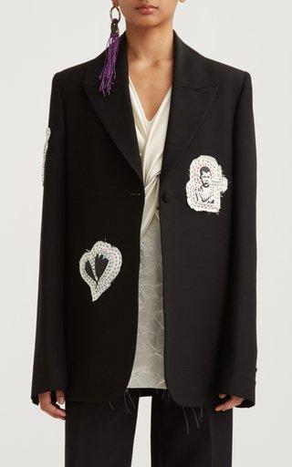 Tailored Embroidered Crepe Boyfriend Blazer