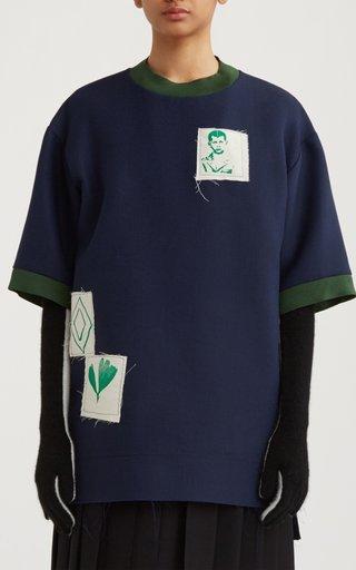 Oversized Ribbed Crepe T-Shirt