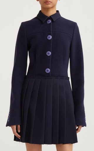 Collared Pleated Virgin Wool Dress