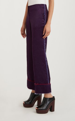Piped Cropped Crepe Trouser