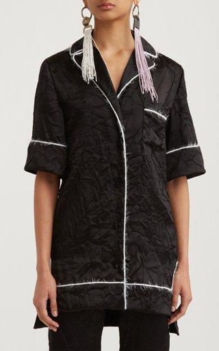 Piped Crinkled Satin Pajama Shirt