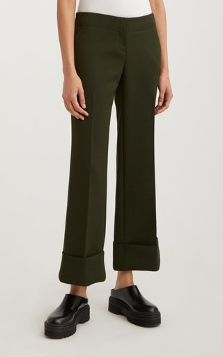 Cuffed Cropped Crepe Trouser