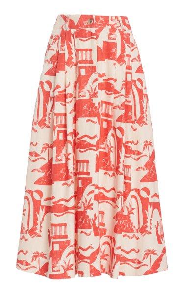 Tulay Printed Woven-Hemp Maxi Skirt