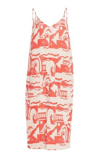 Danica Printed Woven-Hemp Maxi Dress