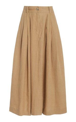 Tulay Woven-Hemp Maxi Skirt