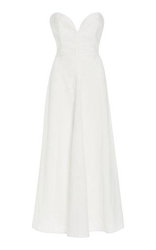 Asteria Woven-Hemp Strapless Dress