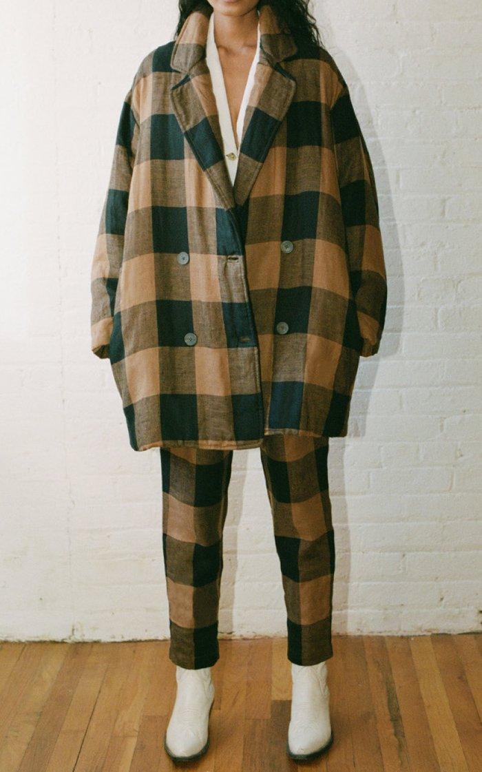 Clem Woven-Cotton Plaid Coat