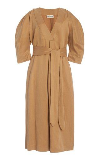 Wanetta Crepe Linen Maxi Dress