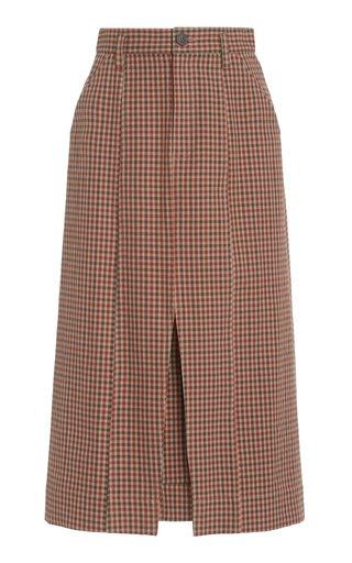 Nakita Plaid Woven Cotton Skirt