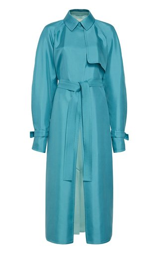 Double-Faced Belted Silk Trench Coat