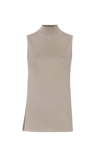 Lightweight Mock Neck Wool-Silk-Cashmere Tank Top