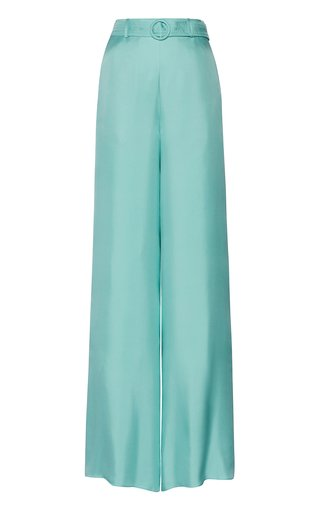 High-Waisted Belted Silk Pants