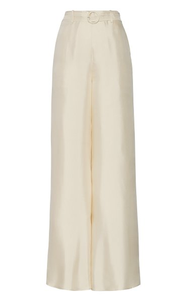 Belted Silk Wide-Leg Pants