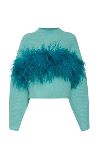 Feather-Detail Ribbed Cashmere-Knit Sweater